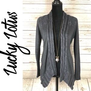 Lucky Lotus Gray Cable Knit Open Cardigan Sweater